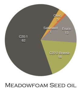 pie chart showing meadowfoam seed oil fatty acids