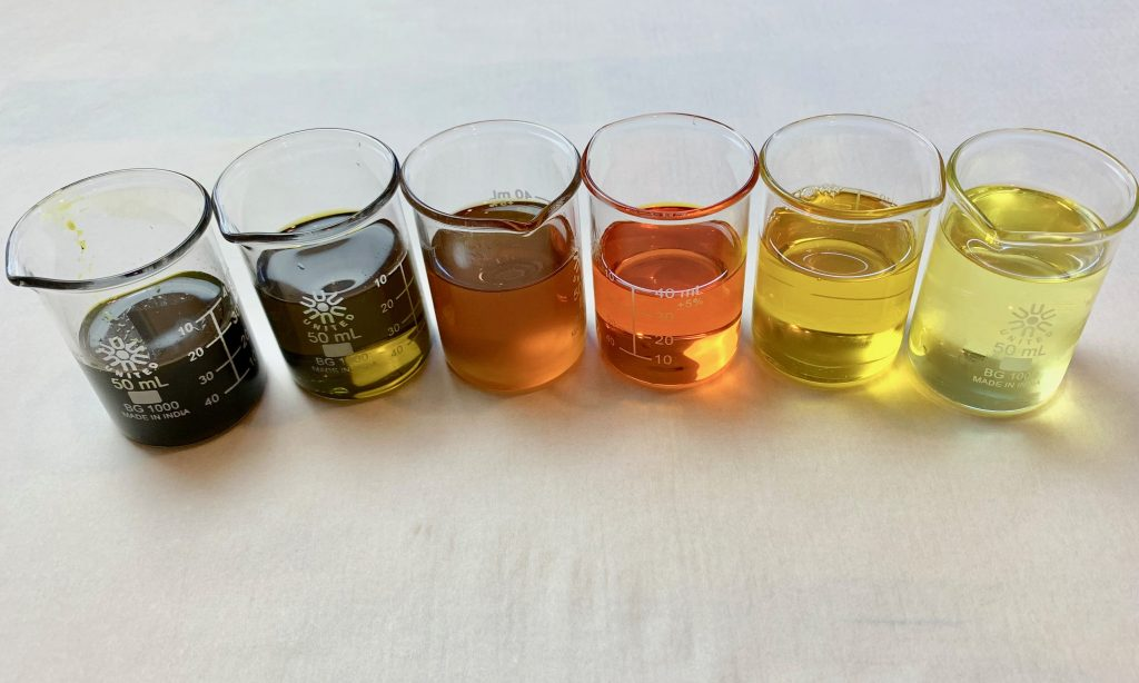 antioxidants and other unsaponifiables (healing fraction) shown in oils in a range of colors